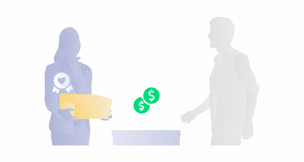 Illustration of happy employees focused on selling