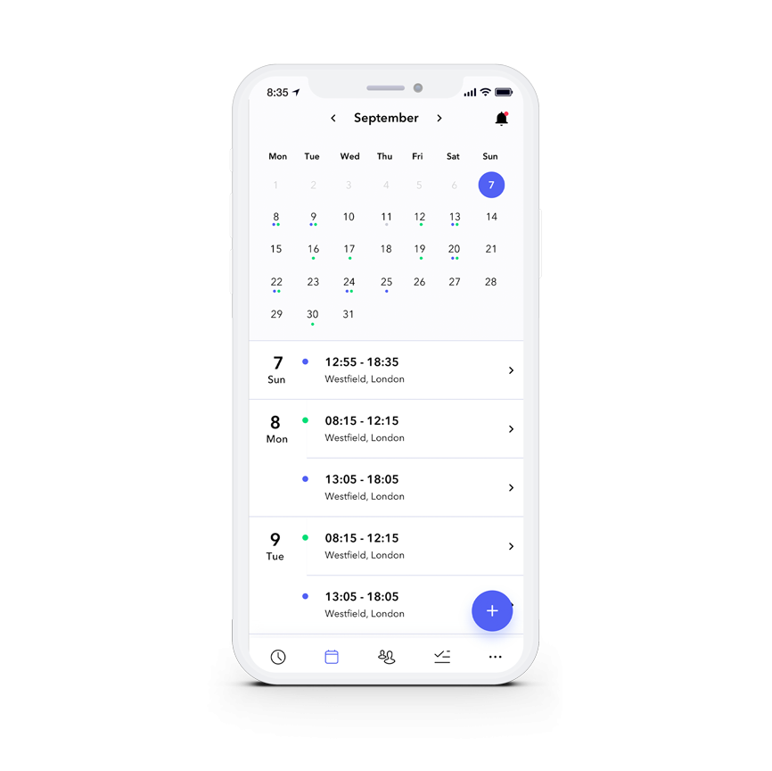 Retail scheduling calendar view on mobile